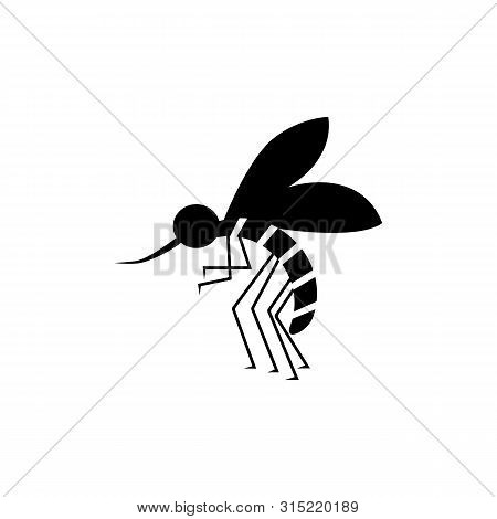 Bloodsucker Mosquito Insect Black Color Icon. Insect Mosquito Sign, Vector Eps10. Black Mosquito Iso