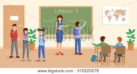 Teaching Mathematics Flat Vector Illustration. Cheerful Teacher At Chalkboard Explaining Maths To Pu