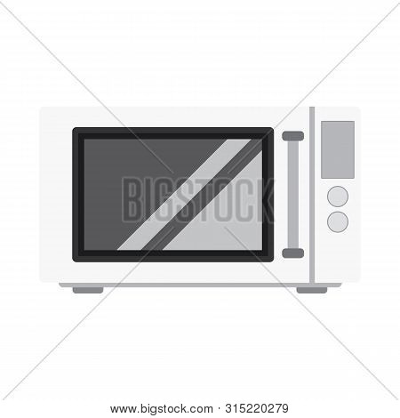 Microwave Stove Flat Style. White Microwave  Icon Vector Eps10. White Microwave Front View Isolated