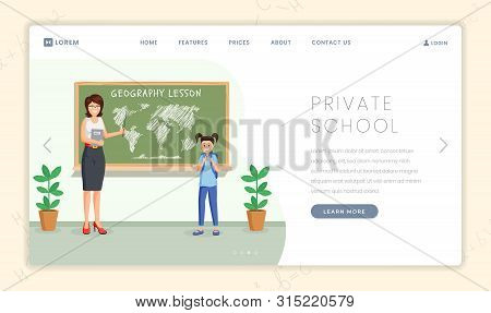 Private School Lesson Vector Landing Page. Geography Teacher Explaining Continents Location To Cute