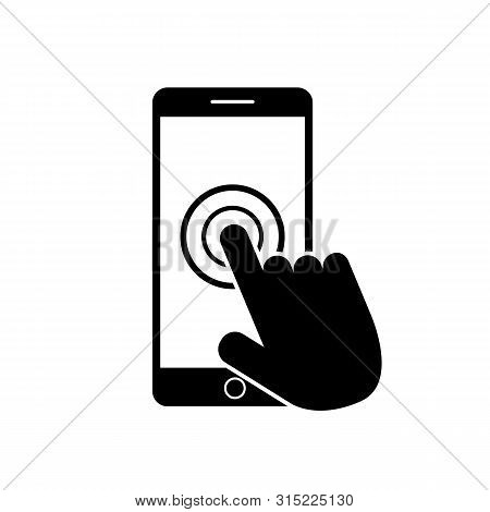 Smartphone Screen Icon With Hand. Open Touch Screen By Finger.black Mobile Phone Icon. Flat Phone Ic