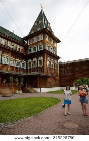 Moscow, Russia - July 14, 2018:the Wooden Palace Of Tsar Alexei Mikhailovich In The Moscow Estate Ko