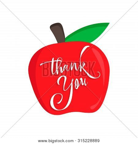 Thank You Teacher Vector Card With An Red Apple. Happy Teacher's Day Calligraphy.