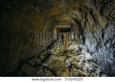 Accident collapse old abandoned uranium mine tunnel. poster