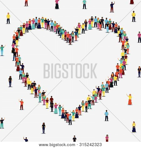 Heart Shape Frame Made Of People Group On Isolated White Background With Copy Space. Diverse Women A