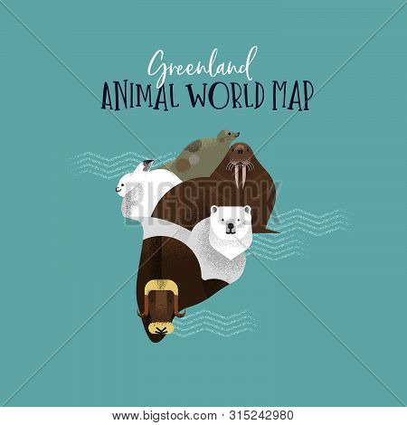 Greenland Country Map Made Of Wild National Animals. Diverse Wildlife In Land Shape Includes Polar B