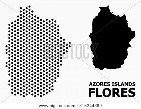 Dotted Map Of Azores - Flores Island Composition And Solid Illustration. Vector Map Of Azores - Flor