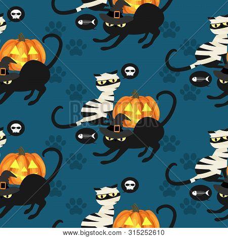 Halloween Seamless Pattern With Black Mummy Cat, Black Witch Cat, Skull, Fish Bone And Footprints.