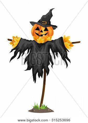 A Halloween Scarecrows With A Jack O Lantern Head. Vector Illustration.