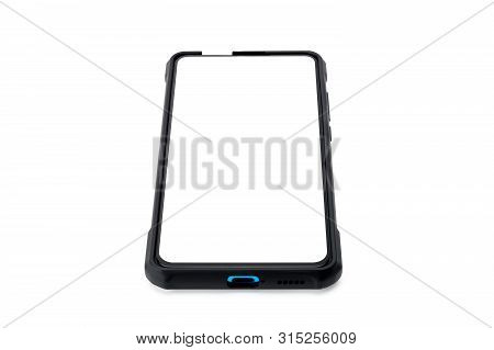 Smart Phone With Blank Screen Isolated On White Background. Smart Phone With Selection Path.