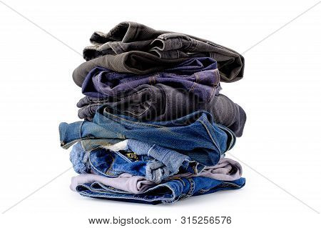 Jeans Stack Isolated On White Background, With Selection Path.