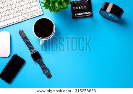 Creative Flat Lay With Office Supplies. Top View With Copy Space.