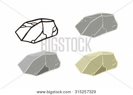 Stone Set. Outline Sketch, Flat Style And Realistic. Vector Illustration.