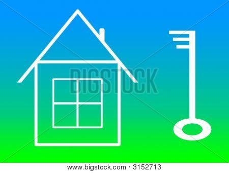 Drawn House And Key.