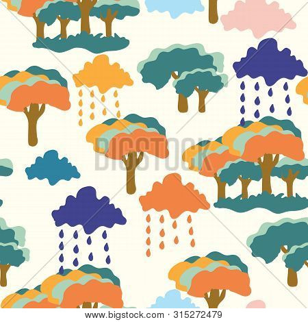 Colorful Groovy Trees, Clouds And Rain, In A Seamless Pattern Design