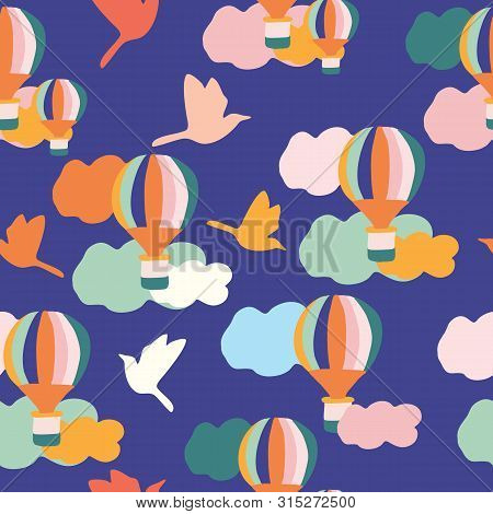 Groovy Balloons And Birds, In A Seamless Pattern Design