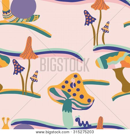 Groovy Mushrooms And Snails, In A Seamless Pattern Design