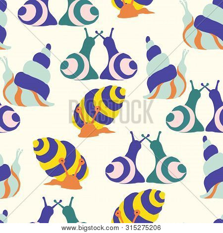 Groovy Snails In A Seamless Pattern Design