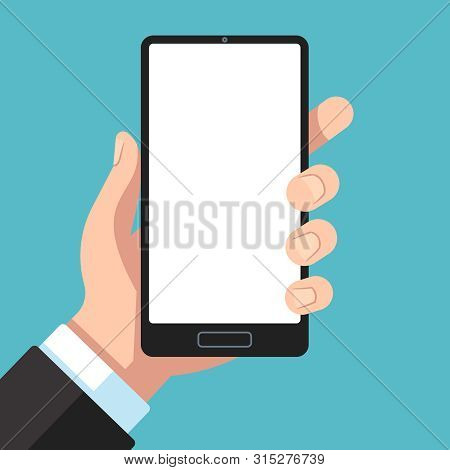 Smartphone In Hand. Businessman Hand Holding Mobile Phone. Cell Phone In Arm Template For App Presen