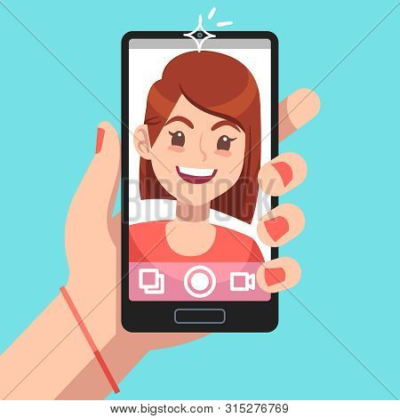 Woman Selfie. Beautiful Girl Taking Self Photo Face Portrait On Smartphone. Phone Camera Addiction C