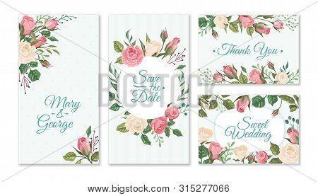 Wedding Card With Roses. Weddings Floral Invitation Cards With Red And Pink Roses And Green Leaves.