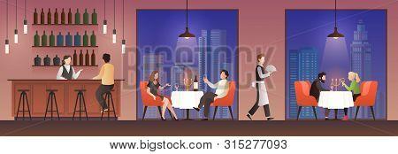 People In Restaurant. Families Having Lunch In Food Court, Men Women Meeting Eating Meal Drink, Dinn