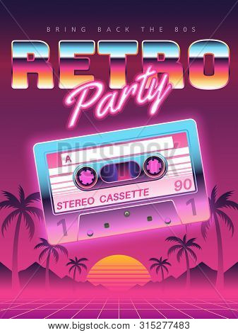 Cassettes Poster. Retro Disco Party 80s, 90s Banner, Vintage Audio Cassette Club Flyer, Festival Inv
