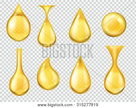 Realistic Oil Drops. Falling Honey Drop, Gasoline Yellow Droplet. Gold Capsule Of Liquid Vitamin, Dr
