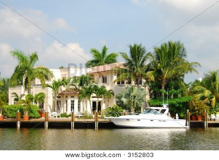 Luxurious waterfront home on the Ft Lauderdale waterway poster