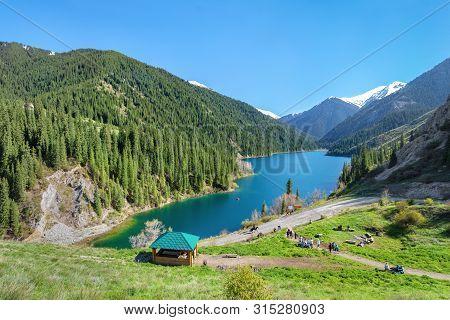 View Of Lower Kolsay Lake From Observation Point, Almaty Region, Kazakhstan