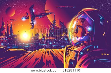 An Ideally Illustration Of Human Colonization On A Faraway Planet In The Universe. This Image Suppos