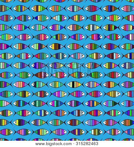 Many Colored Background Image Of Abstract Lines With Fish