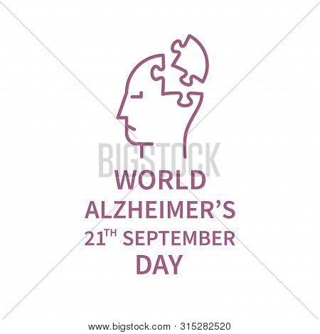 World Alzheimers Day Banner In Linear Stule. Line Logo Fo Alzheimers Day. Vector Illustration. Minim