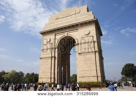 Indian People And Foreign Travelers Walking Travel Visit India Gate Originally Called The All India