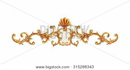 Gold Ornament Baroque Style Element Vignette. Watercolor Hand Drawn Vintage Engraving Floral Scroll