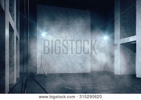Misty Concrete Interior With Copyspace