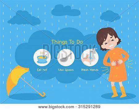 Cute Girl Wearing Orange Raincoat Have A Stomachache With Yellow Umbrella In The Rain, Rain Sick, Ra