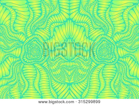 Psychedelic Bright Trippy Colorful Pattern, Lime Yellow Gradient, And Green Color Outline. Decorativ