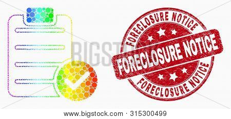 Dotted Rainbow Gradiented Accept Pad Text Mosaic Icon And Foreclosure Notice Stamp. Red Vector Round