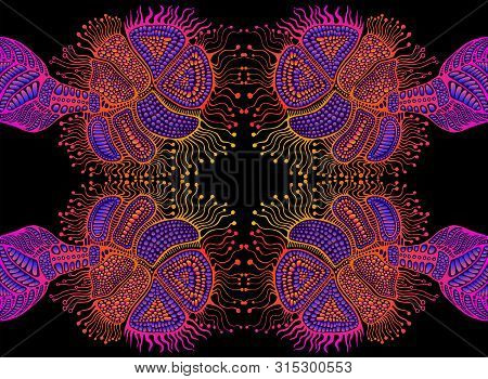 Artistic Psychedelic Trippy Colorful Mirror Ornament, Bright Neon Gradient Colors Isolated On Black