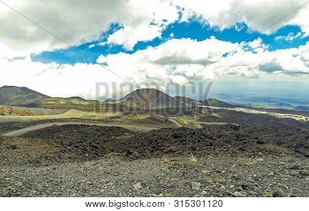 Picturesque Volcanic Landscape Of Mount Etna, Etna National Park, Sicily, Italy. View From Mt.calcar