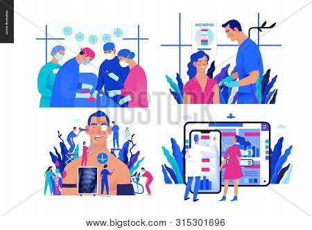 Set Of Medical Insurance - Surgery And Surgical Procedures, Immunization, Vaccination Schedule, Annu