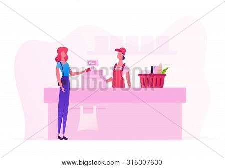 Female Customer Character With Goods In Shopping Basket Stand In Supermarket Or Grocery Queue At Cas