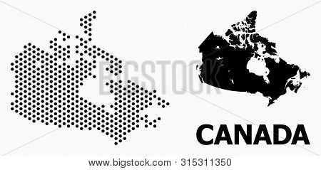 Pixel Map Of Canada Composition And Solid Illustration. Vector Map Of Canada Composition Of Sphere D