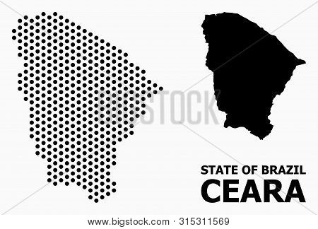 Pixelated Map Of Ceara State Composition And Solid Illustration. Vector Map Of Ceara State Compositi