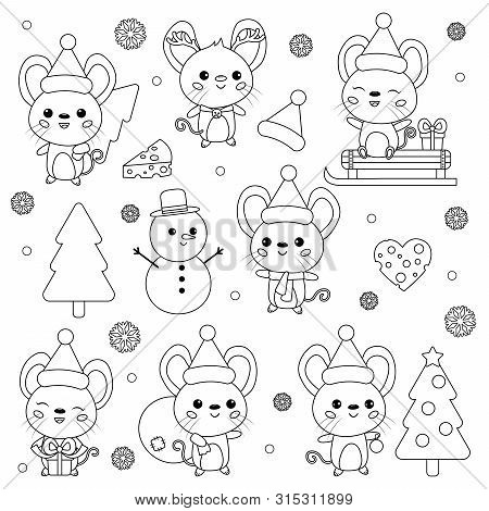 Vector Set Of New Year Symbol - Rat. Cute Cartoon Kawaii Mouse Characters. Christmas Theme. Coloring