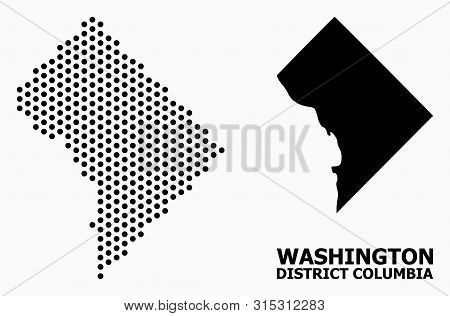 Pixel Map Of District Columbia Composition And Solid Illustration. Vector Map Of District Columbia C