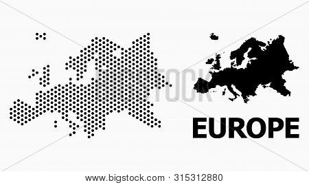 Pixelated Map Of Europe Composition And Solid Illustration. Vector Map Of Europe Composition Of Circ