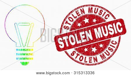 Dot Bright Spectral Electric Bulb Mosaic Icon And Stolen Music Seal. Red Vector Round Textured Seal