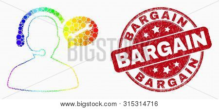 Dot Bright Spectral Service Operator Message Mosaic Icon And Bargain Seal Stamp. Red Vector Round Di